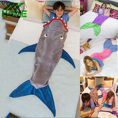 Shark Mermaid Tail Soft Fleece Blanket Kids snuggle-in Sleeping Bag Fancy Dress