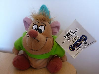 "6"" Gus The Mouse From Cindella II (2) - Disney Bean Bag/Soft Toy/Plush"