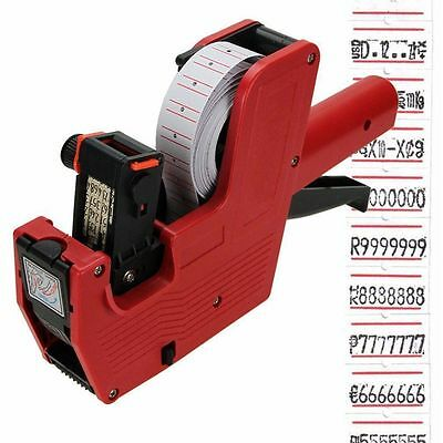 MX-5500 8 Digits Price Tag Gun+500 White w/ Red Lines Labels +1 Ink US Ship SO