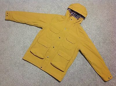 Vintage Pop England Mountain Parka Jacket With Hood In Mustard Size Medium