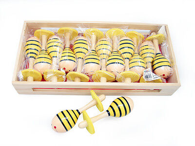 New Wooden Bee Maraca pair Shaker Instrument Childrens Percussion Toy
