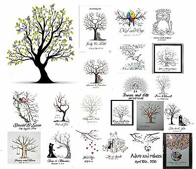 Fingerprint Tree Personalised Wedding Guest Book and Ink