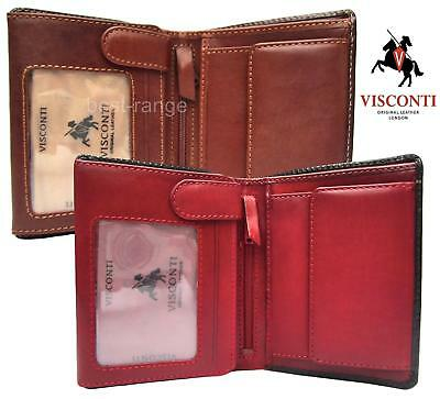 Mens Wallet Real Leather Brown/Tan or Black/Red Visconti New in Gift Box TR34
