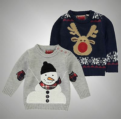 Baby Boys Star Warm Festive Christmas Knit Press Stud Jumper Top Size 0-24 Mnth