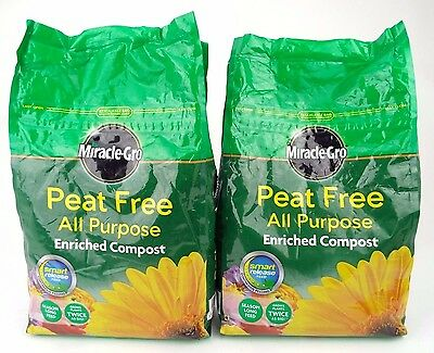 2x Miracle-Gro All Purpose Peat Free Compost 8L
