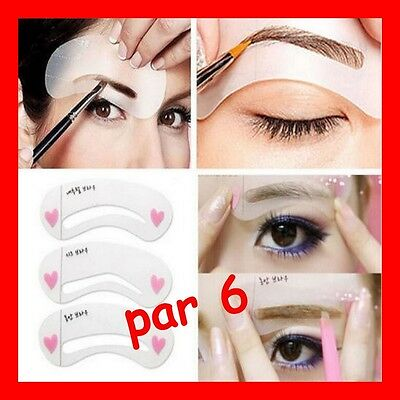 6 pochoirs a sourcils (3 styles) guide maquillage