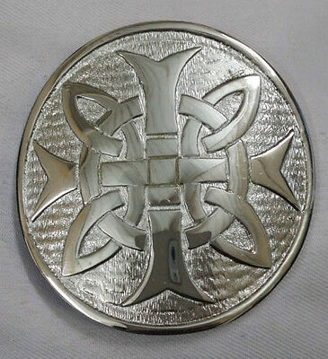 "New Men's Cross Round Kilt Belt Buckle Chrome Finish 3""/Celtic Kilt Belt Buckles"