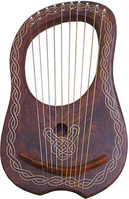 New Lyre Harp Rosewood 10 String with Tuning Key Free Carrying Case/Lyra Harp