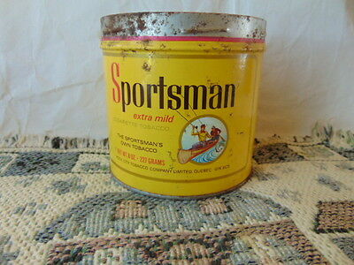 Sportsman Cigarette Tobacco Tin Picture fly fisherman in a canoe