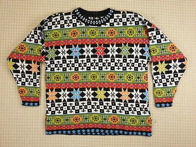 Jumper sweater 80s 90s oversize M unisex cosby abstract geometrical  (EJ457)