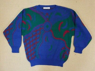 Jumper sweater 80s 90s oversize M unisex cosby abstract geometrical  (EJ387)