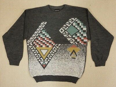 Jumper sweater 80s 90s oversize M unisex cosby abstract geometrical  (EJ413)