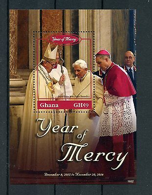 Ghana 2016 MNH Year of Mercy 1v S/S Pope Benedict XVI Frances Popes Stamps