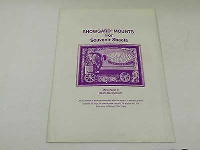 Showgard stamp mounts - 264mm long mixed height strips black backed pack of 15