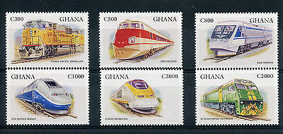 Ghana 1998 MNH Trains 6v Set Railways TGV Eurostar Chemin de Fer Stamps