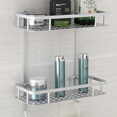 2 tiers Aluminium Square Bathroom Storage Holder Rack  Shower Caddy Shelf. Bath Hanging Shower Caddy Bathroom Organizer Shelf Rack Storage