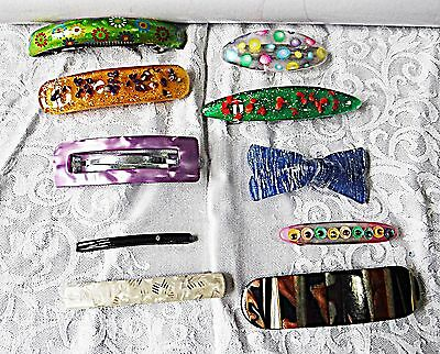 10 Lucite Vintage & Retro Hair Slides Grips Mixed Colours Metal Lock Clips B