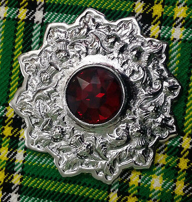 "Men's Kilt Fly Plaid Brooch Red Stone Chrome Finish 4""/Ladies Shawl Brooches"