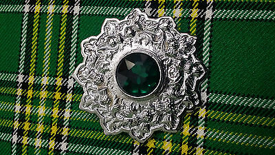 Men's Ladies Fly Plaid Brooch Green Stone/Highland Kilt Fly Plaid Brooches 4""