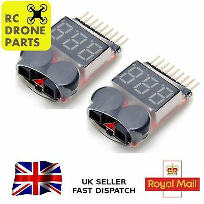 2pc RC Lipo Battery Low Voltage Alarm 1S-8S Buzzer Indicator Checker Tester LED