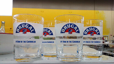 Set Of Four (4)  Brugal Rum Glasses - Caribbean's #1 From The Dominican Republic