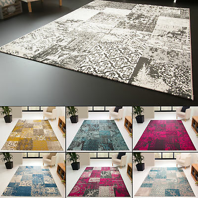 New Modern Rug Karthago Fields Design Colourful