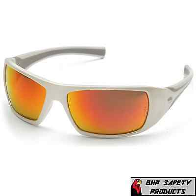 Pyramex Goliath Safety Glasses Sw5655D White Frame/Sky Red Mir Lens Sunglasses