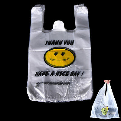 100pcs Carry Out Retail Supermarket Grocery White Plastic Shopping Bag 20 x 32cm