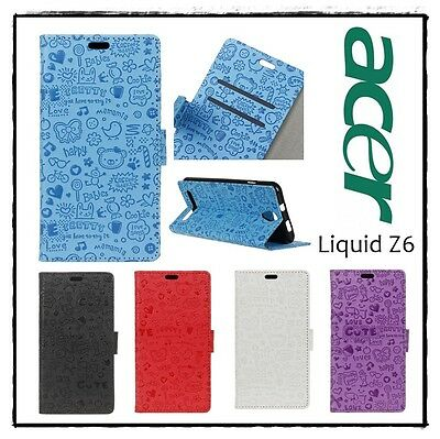 Etui housse coque porte-cartes Cartoon Graffiti Noir  Case Cover ACER Liquid Z6