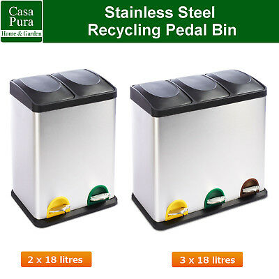 Stainless Steel Kitchen Recycling Pedal Bin * Compartment Recycle Waste Step Bin