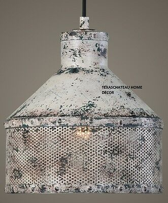 French Farmhouse Antique White Chandelier Pendant Light Fixture Tuscan Country