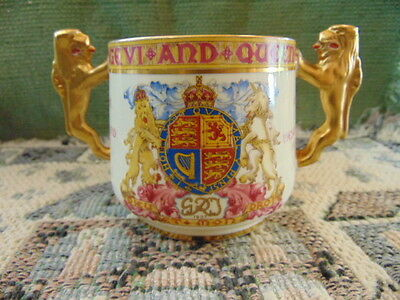 1937 Paragon Coronation King George VI Loving Cup with Lion Handles