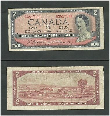 Canada 2 Dollars 1954 (1961-72) Banknote (VF) Condition QEII KM #76b