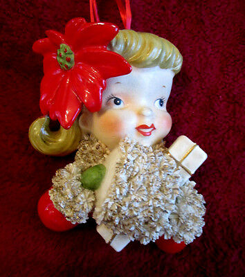 Vintage Christmas Norcrest P-316 Wall Pocket SHOPPER GIRL POINSETTIA HAND MUFF