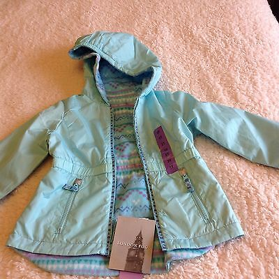Girls London Fog Reversible Coat - Age 3 Colour Ice Blue
