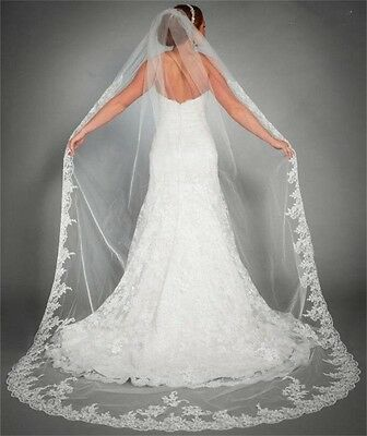 1 Layer IVORY/White Bridal 3m Cathedral Lace Edge Bridal Wedding Veil With Comb