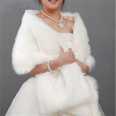 New Red ivory White Faux Fur Jacket Wrap Shrug Bolero Shawl Cape Bridal Wedding
