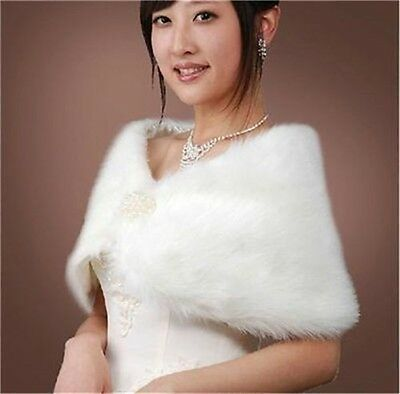Hot White/Iovry/Red/Pink Faux Fur Jacket Coat Bridal Dress Wrap Stole Shawl Cape
