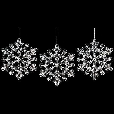 Set of 3 Clear Acrylic Snowflake Christmas Tree / Wall Ceiling Decoration