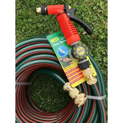"Rubber Water Hose 50M Brass Fittings & Pistol 12MM - 1/2"" With Double Walls"