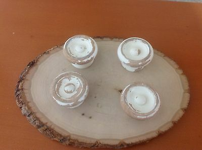 213 VTG Large Wooden Knobs In A Shabby Chic White Set Of 4