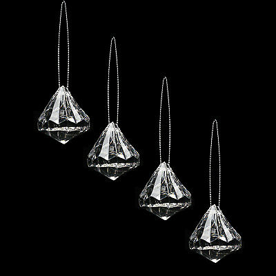 Pack of 4 Clear Acrylic Jewels Christmas Tree / Wall Ceiling Hanging Decoration