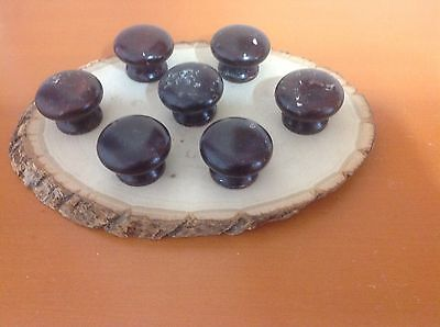 531 VTG Large Wooden Knobs In A Shabby Chic Brown Set Of 7