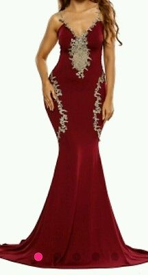 Burgundy Red lace Mermaid cocktail/prom party Maxi Dress Gown  Size 10-12-14