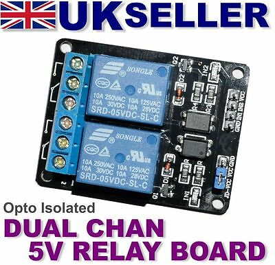 2-channel 5V opto isolated relay board Arduino Raspberry Pi ARM AVR DSP PIC
