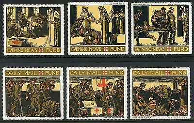 GB WW1 CHARITY DAILY MAIL + EVENING NEWS SET of 6 LABELS WAR FUND