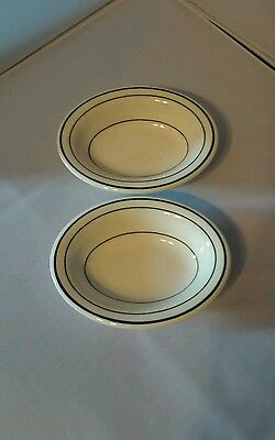 (2) Sterling Vitrified China E. Liverpool Ohio Small Oval Dishes/bowls