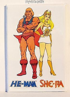 "HE-MAN &  SHE-RA Fridge MAGNET  2"" x 3"" art NOSTALGIC VINTAGE CARTOON"