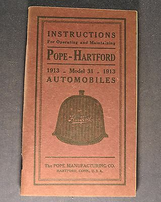 1913 Pope-Hartford Model 31 Owner's Manual Instruction Book Excellent Original