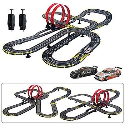 New Boys Double Loop Slot Car Track Set Race Way Racing NASCAR Super 1:64 Scale
